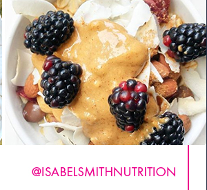 Almond Butter with Berries on Oatmeal, by &IsabelSmithNutrition